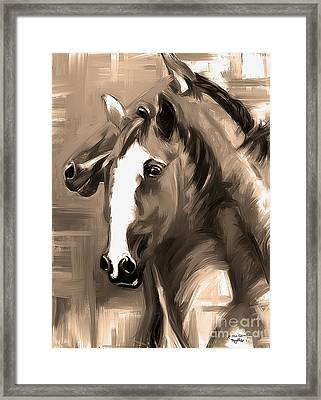 Framed Print featuring the painting Horse Together 1 Sepia by Go Van Kampen
