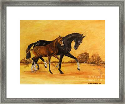 Framed Print featuring the painting Horse - Together 2 by Go Van Kampen