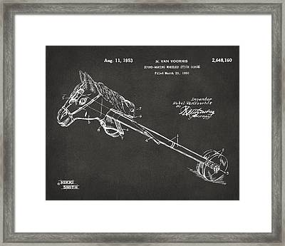Horse Toy Patent Artwork 1953 - Gray Framed Print