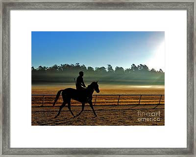 Horse Training At The Winter Colony Framed Print