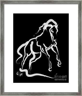 Horse White Runner Framed Print by Go Van Kampen