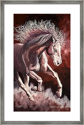 Horse Wild Fire Framed Print by Tish Wynne