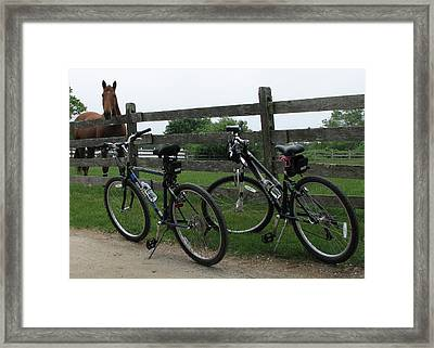Horse With Bikes Framed Print by Susan OBrien