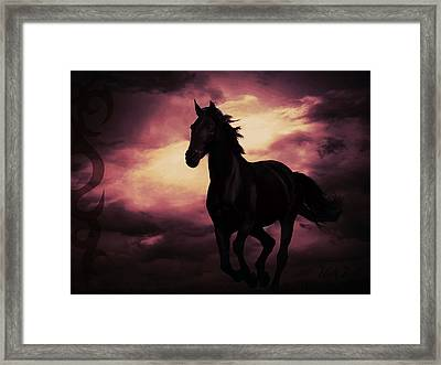 Horse With Tribal Tattoo Purple Framed Print