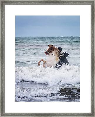 Horseback Riding In The Sea. Icelandic Framed Print by Panoramic Images