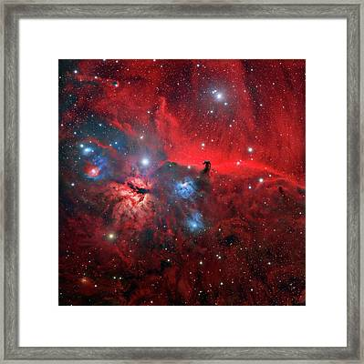 Horsehead And Flame Nebulae Framed Print by Tony & Daphne Hallas