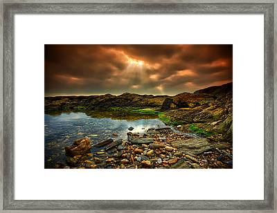 Horseley Cove Rockpool Framed Print by Mark Leader