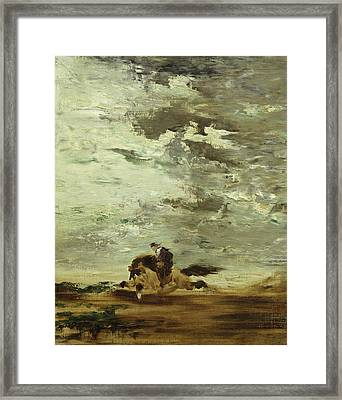 Horseman Oil On Canvas Framed Print by Gustave Moreau