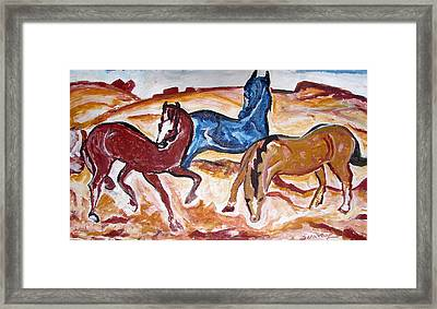 Framed Print featuring the painting Horses 3 by Anand Swaroop Manchiraju
