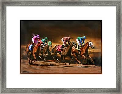 Horses 4 At Finish Framed Print by Blake Richards
