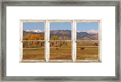 Horses And Autumn Colorado Front Range Picture Window View Framed Print