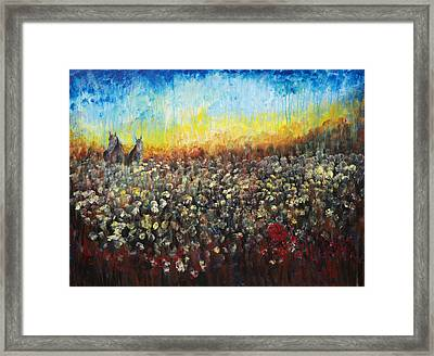 Framed Print featuring the painting Horses And Dandelions by Nik Helbig