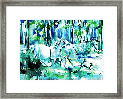 Horses And Dog Framed Print by Fabrizio Cassetta