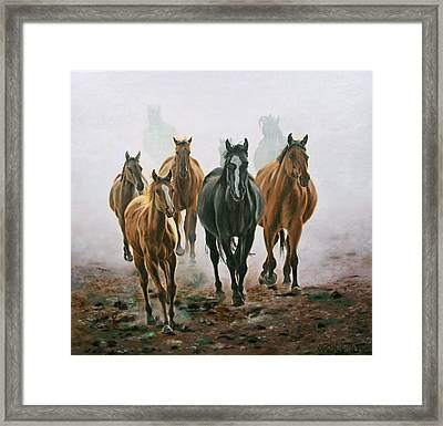 Framed Print featuring the painting Horses And Dust by Jason Marsh