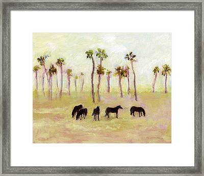 Horses And Palm Trees Framed Print