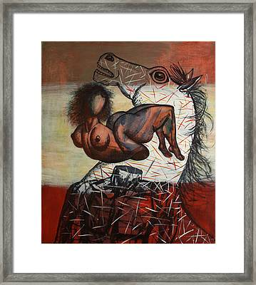 Horses And People Framed Print by Karen Aghamyan