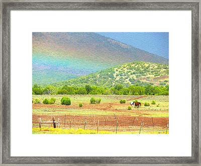 Horses At The End Of The Rainbow Framed Print