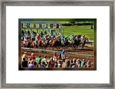 Horse's At The Start Framed Print by Blake Richards