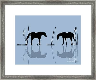 Horses At The Water Framed Print