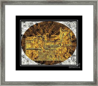 Horses -  Brass Etching Framed Print by Barbara Griffin