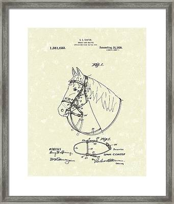 Horse's Bridle 1920 Patent Art Framed Print by Prior Art Design