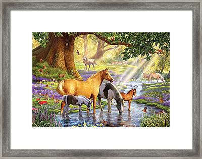 Horses By The Stream Framed Print