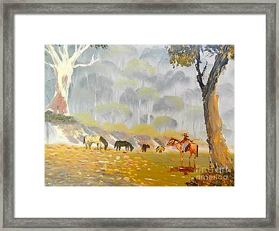Horses Drinking In The Early Morning Mist Framed Print