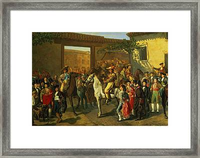 Horses In A Courtyard By The Bullring Before The Bullfight, Madrid, 1853 Oil On Canvas Detail Framed Print