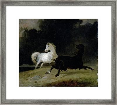 Horses In A Thunderstorm, Thomas Woodward Framed Print