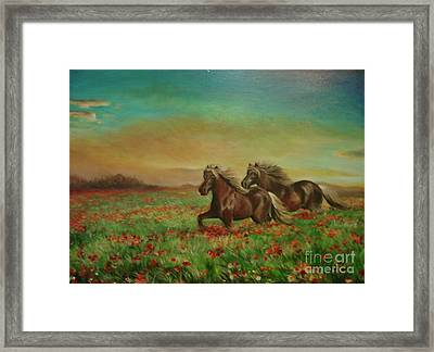 Framed Print featuring the painting Horses In The Field With Poppies by Sorin Apostolescu