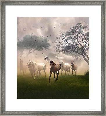 Framed Print featuring the digital art Horses In The Mist by Nina Bradica