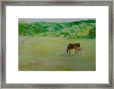 Horses Mare Foal Pastures Rural Landscape Original Art Oregon Western Artist K. Joann Russell Framed Print
