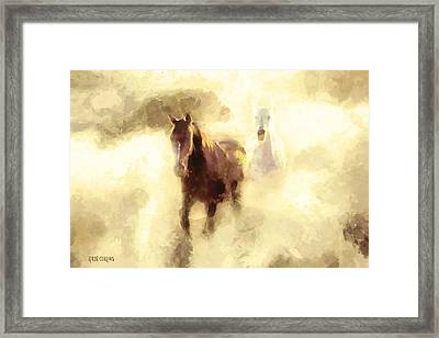 Framed Print featuring the painting Horses Of The Mist by Greg Collins