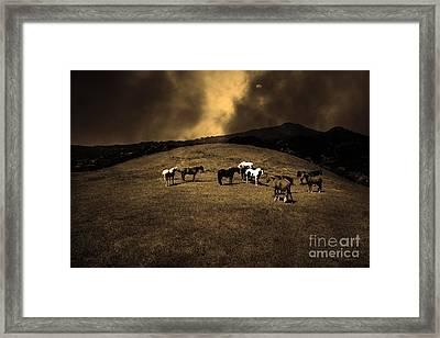 Horses Of The Moon Mill Valley California 5d22673 Sepia Framed Print by Wingsdomain Art and Photography