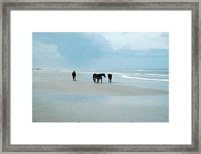 Framed Print featuring the digital art Horses Of The Obx by Kelvin Booker