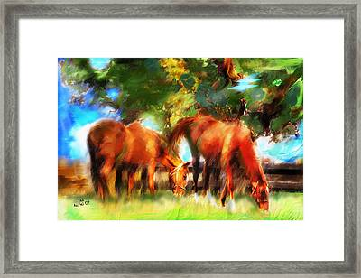 Framed Print featuring the painting Horses On A Kentucky Farm by Ted Azriel