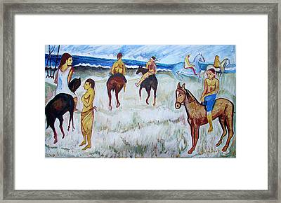 Framed Print featuring the painting Horses On Beach by Anand Swaroop Manchiraju
