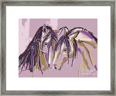 horses Purple pair Framed Print by Go Van Kampen