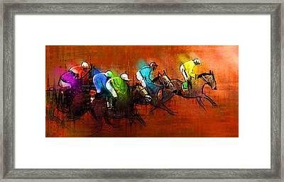Horses Racing 01 Framed Print by Miki De Goodaboom