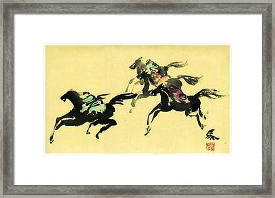 Framed Print featuring the painting Horse Racing by Ping Yan