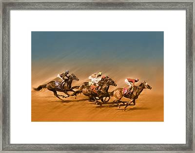 Horses Racing To The Finish Line Framed Print