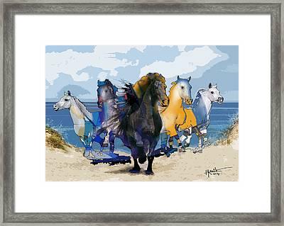 Horses Runway Framed Print
