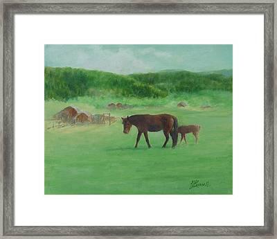 Horses Rural Pasture Western Landscape Original Oil Colorful Art Oregon Artist K. Joann Russell Framed Print