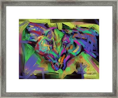 Horses Together In Colour Framed Print by Go Van Kampen