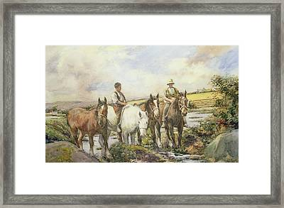 Horses Watering Framed Print by Henry Meynell Rheam