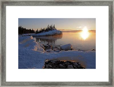 Horseshoe Bay Island Sunrise At Minus 20 Framed Print by Sandra Updyke