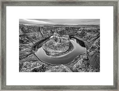 Horseshoe Bend Arizona Black And White Framed Print