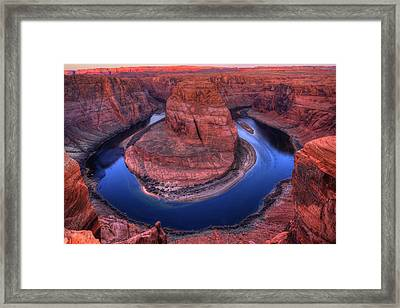 Horseshoe Bend At Sunrise Framed Print