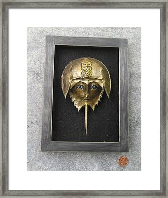 Horseshoe Crab Mask In Grey  Frame Framed Print