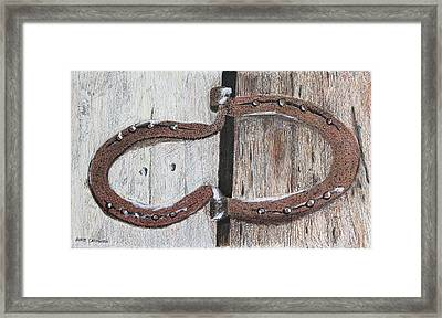 Horseshoe Door Hinge Framed Print by David Cardwell